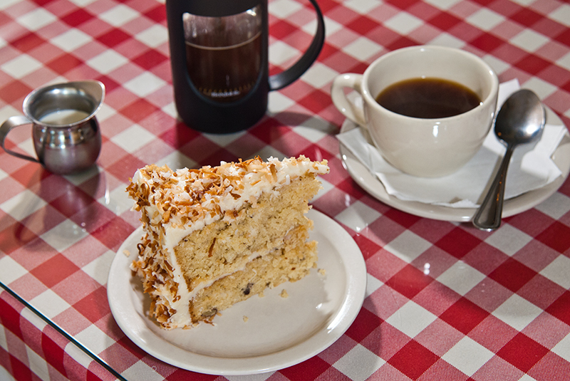 Italian cream cake with French press coffee at Gaberino's Homestyle Italian in Norman. (Mark Hancock)
