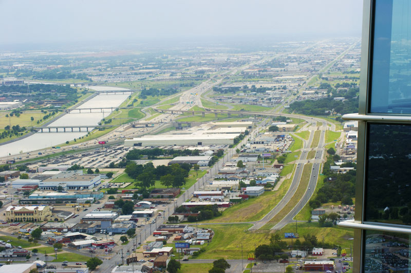 Looking west toward the Crosstown Boulevard, I-40 and the Oklhoma River. (Shannon Cornman)