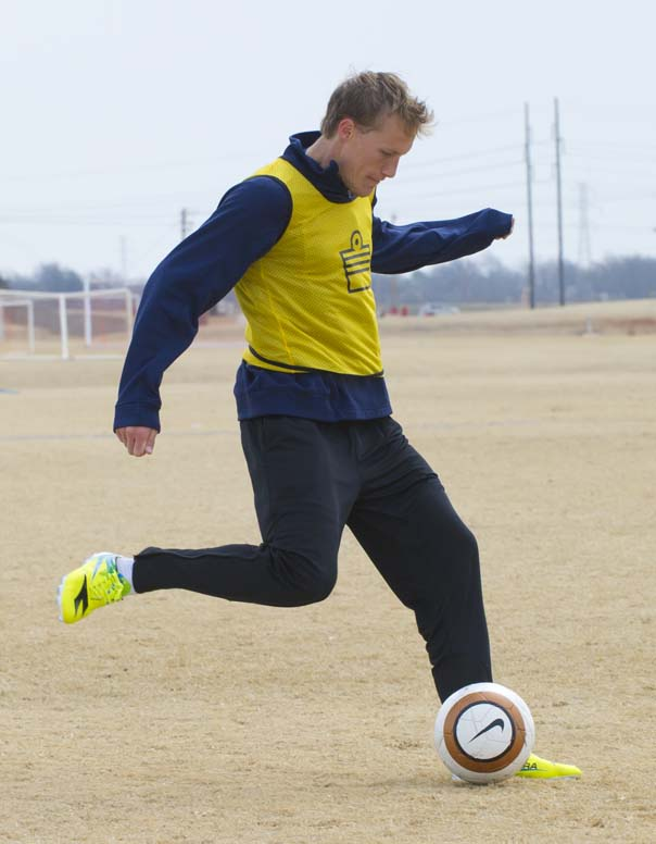 Energy Soccer player Steven Perry during a pre-season practice.  His jersey is one of many up for auction. (Shannon Cornman / File)