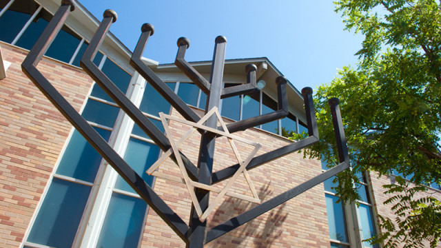 Emanuel Synagogue's menorah faces the south. Photo/Shannon Cornman