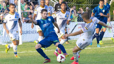 Forward Javier Castro fights for the ball on the opponents turf during the July 19th home game against LA Galaxy II. (Shannon Cornman)