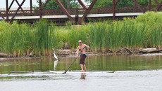 Eric Pappas mingles with wildlife as he demonstrates surf paddle board technique on the waterway connecting Stinchcomb Wildlife Refuge and Lake Overholser as it passed under the old Route 66 Bridge, Background.  (Mark Hancock)