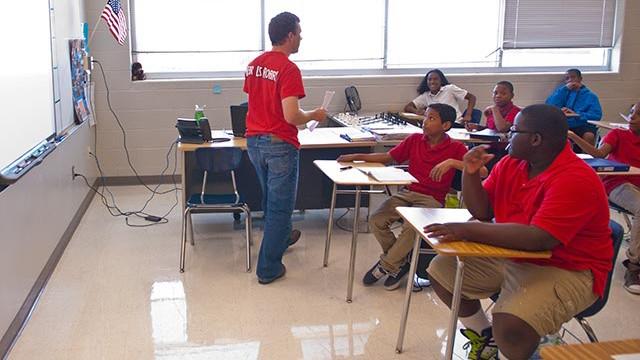 Jake Steel teaching seventh grade academic achievement at John Marshall High School. (Mark Hancock)