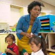 Alexis Daniels works with her Pre-K students at F.D. Moon Elementary recently. (Mark Hancock)