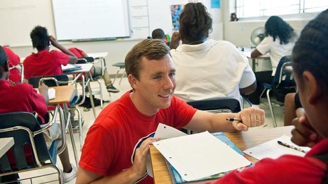 Jake Steel teaching 7th Grade Academic Achievment at John Marshall High School. (Mark Hancock)