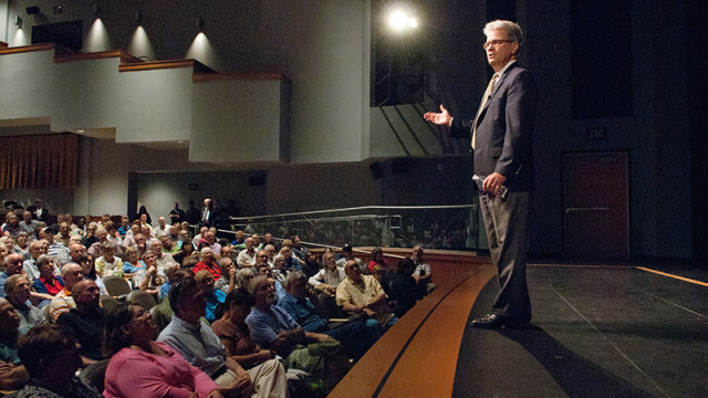 U.S. Senator Tom Coburn speaking during a town hall meeting in the OCCC Visual and Performing Arts Center. (Mark Hancock)
