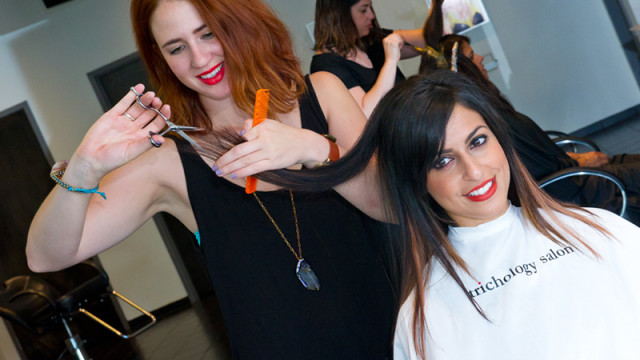 Left, Leslie Van Sickle and Mahsa Mohammadi at Trichilogy Salon on N. May Ave. (Shannon Cornman)