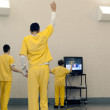 Juvinile inmates dance to a work out video at Canadian County Children's Justice Center in El Reno, Oklahoma. (Lauren Hamilton)