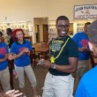 Lenard Leviston III, center, with surrounded by freshman and other Link Leaders, in the library at John Marshall High School. (Mark Hancock)