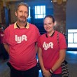 Bryan Lewis and Meghan Clontz, sporting Lyft tees, wait outside of the OKC Council chambers for the start of the meeting. (Mark Hancock)