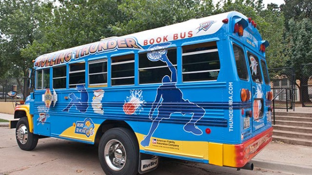 The Rolling Thunder Book Bus parked at Putnam Heights Elementary.  mh
