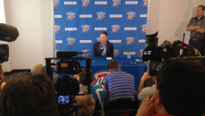 Sam Presti speaks at a press conference Thursday. (Courtesy of the Oklahoma City Thunder)
