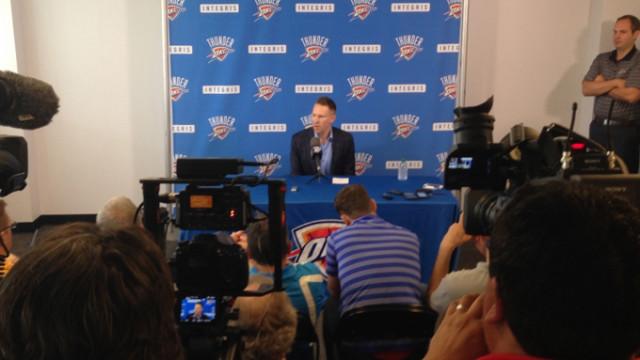 Sam Presti speaks at a press conference Thursday. (Courtesy of the Oklahoma City Thunder)