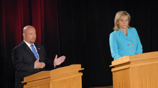 Rep. Joe Dorman and Gov. Mary Fallin shared the state on Oct. 2 for the only debate of the 2014 governor's race in Oklahoma. (Mark Hancock)