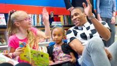 """Russell Westbrook stops into """"Russell's Reading Room"""" to read books with children at North Highland Elementary. (Shannon Cornman)"""