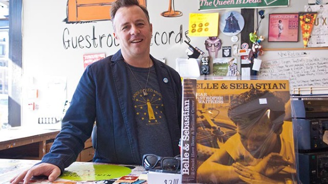 Will Muir puts on a smile at Guestroom Records in Norman.  mh