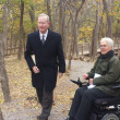 Mayor Mick Cornett and Jack McHanan or Wilderness Matters were on hand to celebrate the start of construction on the Courage Trail at Martin Park Nature Center. (Ben Felder)