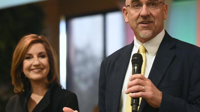 Incoming State Superintendent Joy Hofmeister and Superintendent Robert Neu. (Mark Hancock)