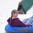 People enjoying snow tubing at the Bricktown Ballpark, 12-13-14.  mh