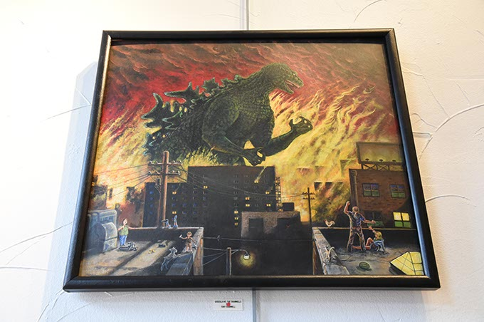 Godzill avs. The Trammells, artwork by Tony Trammell at Planet Dorshak.  mh