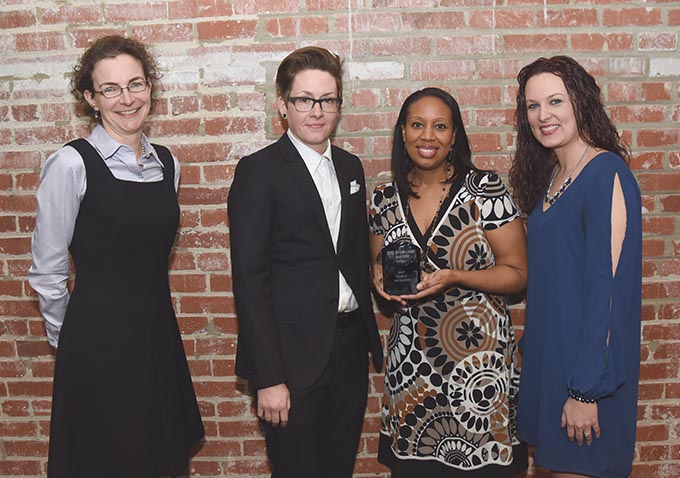 From left, Kate Brady, Kristin Culver, Shannon Welch, and Meagan Carter who won best public initiative for Open Streets OKC. (Mark Hancock)