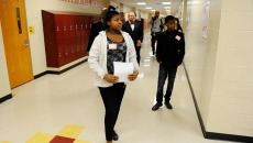 Breyell Thompson, left, and Jemi Thompson lead a tour at Centennial High School in Oklahoma City, Wednesday, Jan. 28, 2015.  (Garett Fisbeck)