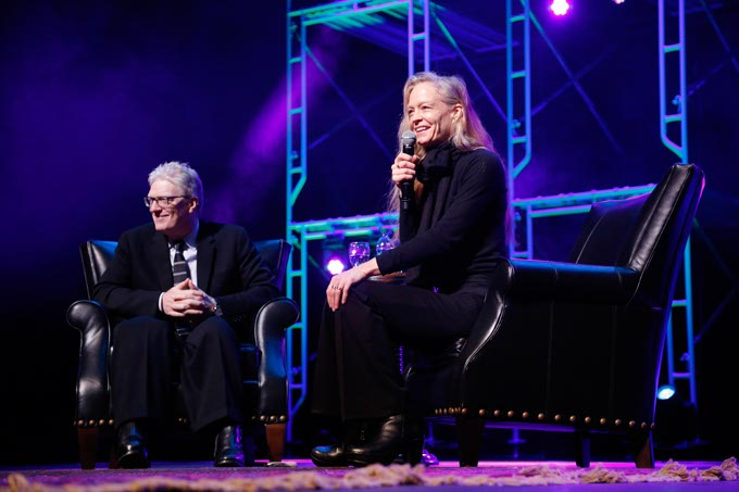 "Sir Ken Robinson and Suzy Amis Cameron during the ""All our Futures"" discussion during the Creativity World Forum at the Civic Center in Oklahoma City, Tuesday, March 31, 2015.  (Photo by Garett Fisbeck)"