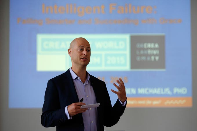 "Dr. Ben Michaelis presents his workshop, Intelligent Failure:  How to Use Failure in your Creative and Personal Endeavors"" during the Creativity World Forum at the Civic Center in Oklahoma City, Tuesday, March 31, 2015.  (Photo by Garett Fisbeck)"